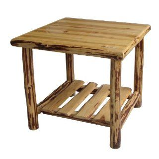 Rush Creek Log Cabin Style End Table