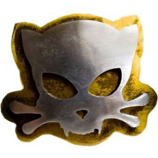 Hand Made Steel Gold Distressed Outlaw Evil Kitty Belt