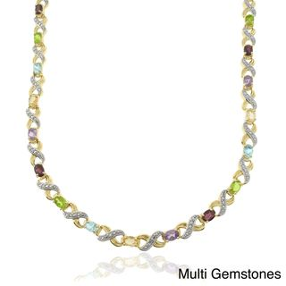 Two tone Silver Multi gemstone and Diamond Accent Oval XO Link