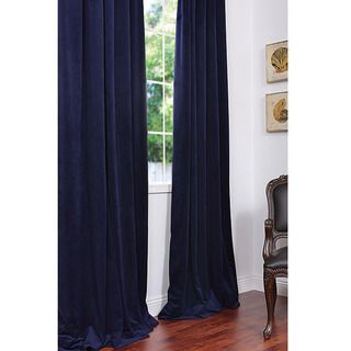 Signature Federal Blue Velvet 84 inch Blackout Curtain Panel