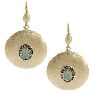 Rivka Friedman 18k Gold Overlay Esha Caribbean Blue Quartzite Earrings