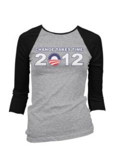 Change Takes Time Obama 2012 Juniors Raglan Baseball Shirt