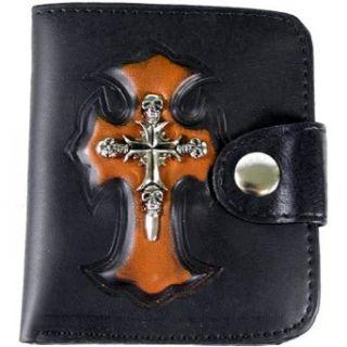Black & Orange Skull Iron Cross Leather Bi Fold Biker