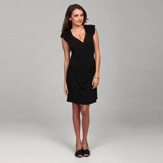 Emma & Michelle Womens Black Ruffle Shoulder Dress