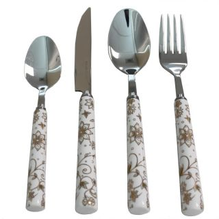 Casa Cortes Flower Glee 24 pc Stainless Steel Flatware Set with