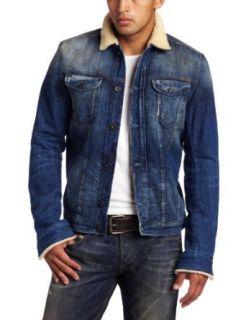 Diesel Mens Jhima Faux Fur Jacket, Denim, X Large