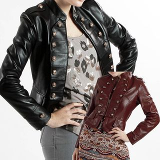 United Face Womens Lambskin Leather Military Jacket