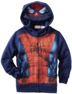 Marvel Boys 2 7 Spiderman Costume Full Zip Hoodie, Navy, 4