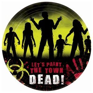 Beware Zombies Halloween Dessert Plates Party Accessory