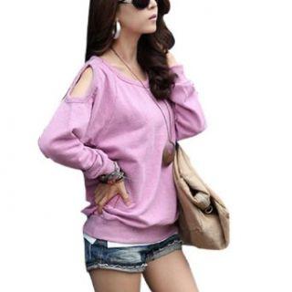 Allegra K Women Cut out Shoulder Long Sleeve Shirt Light