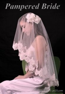 Lace Mantilla Bridal Wedding Veil 49x49 Ivory Clothing