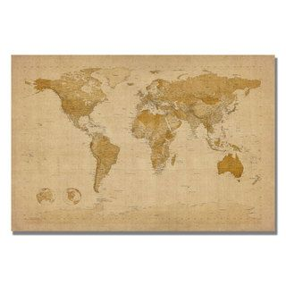 Michael Tompsett Antique World Map Canvas Art