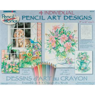 Pencil By Number Kit Set of 4 Cat, Dog, Floral
