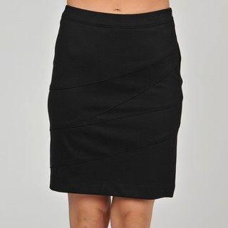 Adrienne Vittadini Womens Asymmetrical Seam Mini Skirt