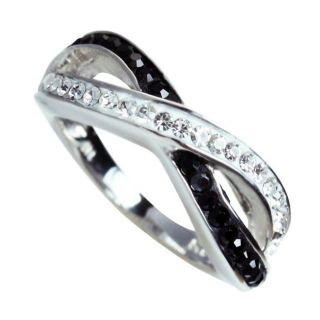 Sterling Silver Black and White Crystal Ring