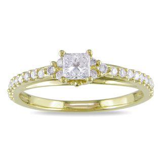 Miadora 10k Yellow Gold 1/2ct TDW Diamond Engagement Ring (H I, I2 I3
