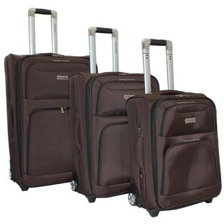 Dejuno Coffee Brown Luxury 3 piece Expandable Upright Luggage Set