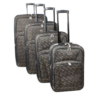 Centurion 4 piece Brown Expandable Wheeled Upright Luggage Set