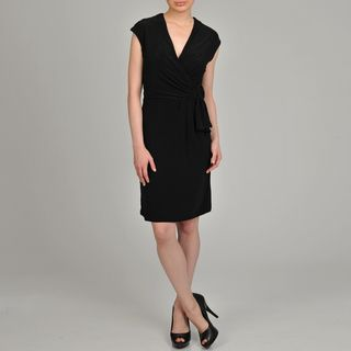 Lennie for Nina Leonard Womens Black Wrap Dress