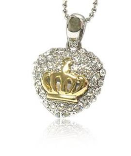 Sparkling Crystal Gold Plated Heart Crown Pendant Necklace