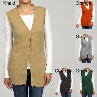 Lou Lou Womens Ribbed Trimmed 4 button Vest