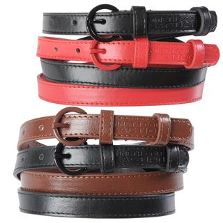 Kenneth Cole Reaction Womens 2 for 1 Topstitched Skinny Belts