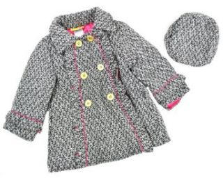 Penelope Mack Girls Black & White Wool W/Hat Coat