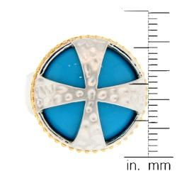Meredith Leigh Two tone Sterling Silver Turquoise Cross Ring