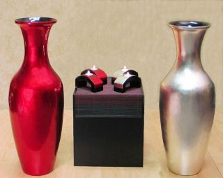 28 in. Tall Lacquer Floor Vase & Candle Holders
