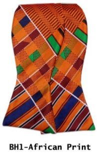 Mens Orange African Print Selftie Bow Tie With Matching