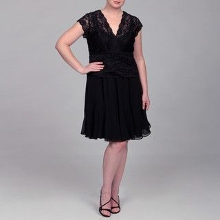 KM Collections Womens Plus Size Black Lace Chiffon Dress