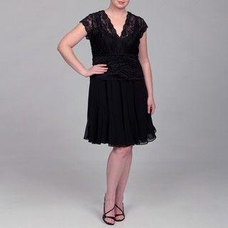 KM Collections Womens Plus Size Black Lace Chiffon Dress