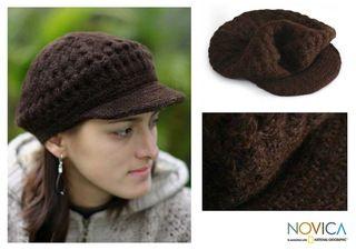 Wool Chocolate Cap Alpaca Hat (Peru)