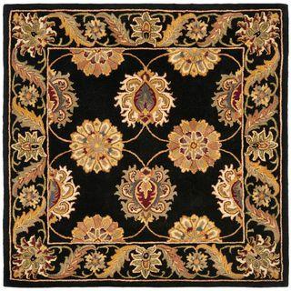 Handmade Heritage Mahal Black Wool Rug (6 Square)