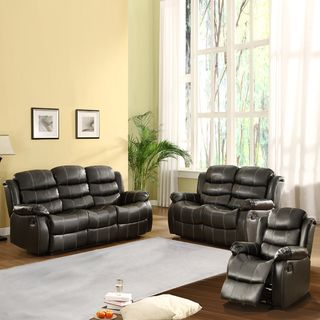 Buxton Collection Black Bonded Leather 3 piece Living Room Set