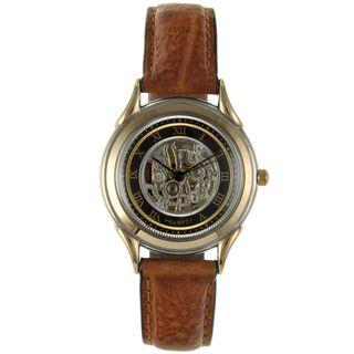 Peugeot Vintage 263M Skeleton Dial Tan Leather Watch