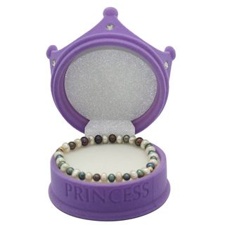 Junior Jewels Childrens White and Purple Freshwater Pearl Bracelet (6