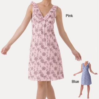 Womens Pink Floral Ruffled Chemise Nightgown