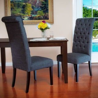 Tall Grey Fabric Dining Chairs (Set of 2)