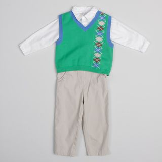 Petit Ami Toddler Boys 3 piece Pant Shirt Vest Set