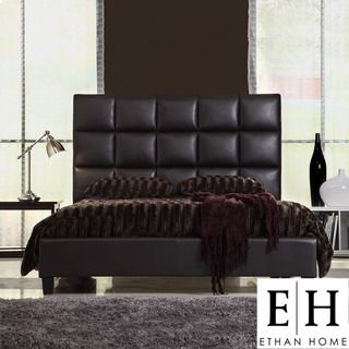 ETHAN HOME Sarajevo Queen Sized Dark Brown Faux Leather Bed