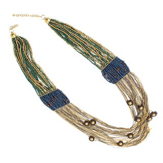 NEXTE Jewelry Two tone Multi strand Bead and Chain Fashion Necklace