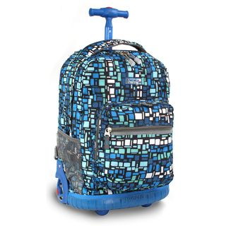 World 18 inch Squares Blue Rolling Backpack