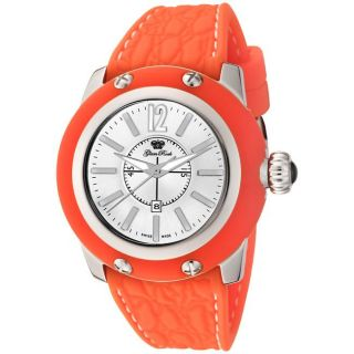Glam Rock Womens Palm Beach Silver Dial Orange Silicon Watch