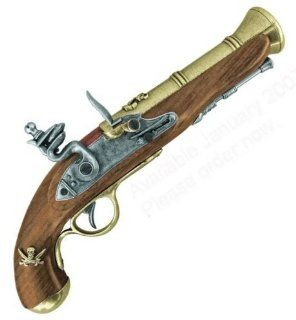 Jolly Roger Pistol   Pirate Blunderbuss Flintlock Wood and
