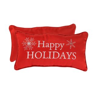 Embroidered Happy Holiday Corded Accent Pillow (11 x 20)