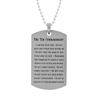 Stainless Steel Mens Ten Commandment Dog Tag Necklace