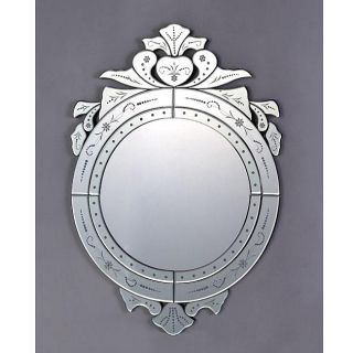 Ornate Top 31.5 inch Silver Venetian Mirror