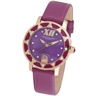 Stuhrling Womens Lady Marina Plum Leather Watch