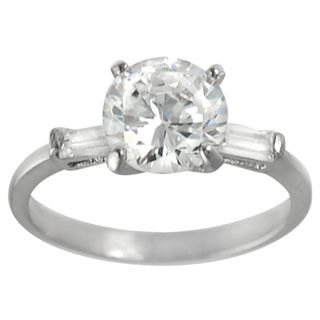 Journee Collection Steel Cubic Zirconia Engagement style Ring
